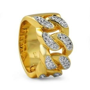 NWT MENS 14k Gold PL Miami Cuban Link Ring